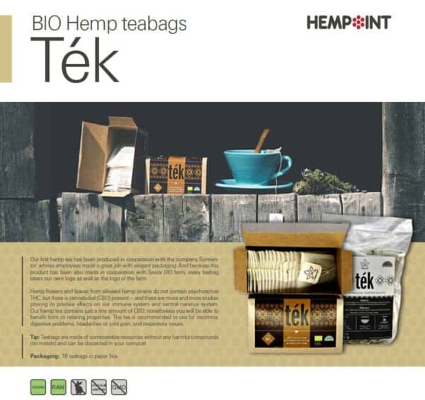 Hemp Tea Bags - Tek Bio Hemp Leaves & Flowers – 18 Bags