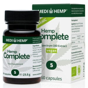 Medihemp Hemp Complete 5% vegan CBD capsules. New smaller size vegan capsule for easier swallowing.