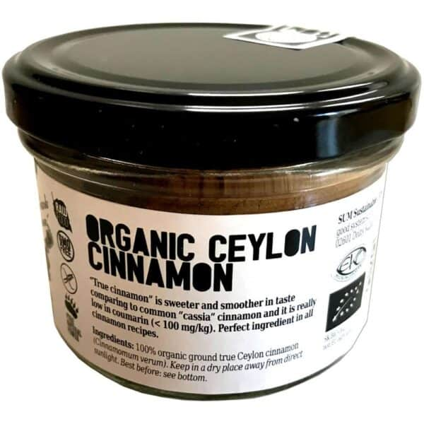 Raw Organic Ceylon Cinnamon (True Cinnamon) – Vegan – Gluten Free – 70g in a Glass Jar