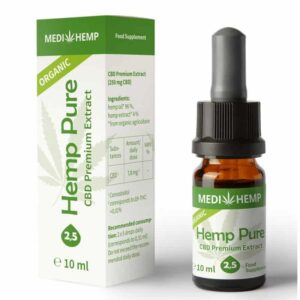 2.5% CBD Hemp Pure Oil Drops Tincture - 250mg hemp extract - 10ml