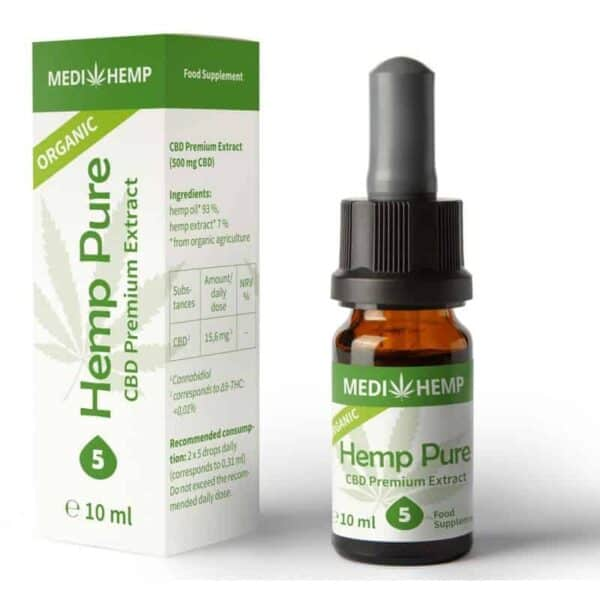 5% CBD Hemp Pure Oil Drops Tincture - 500mg hemp extract - 10ml
